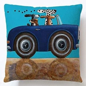 Set of 4 Cartoon Dogs Throw Pillow Case Covers NWT